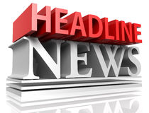Headline News. 3D rendered illustration of HEADLINE NEWS letters  in deep perspective, forming a typographic design Royalty Free Stock Photography