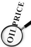Headline oil price and magnifier Royalty Free Stock Photography