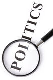 Headline politics and magnifier. Concept of politics decision Stock Images