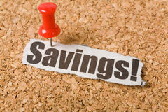 Headline Savings. Concept of Savings Stock Image