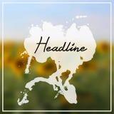 Headline with splash on sunflowers background Royalty Free Stock Photo
