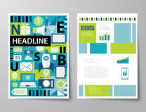 Headline startup set of magazine cover , flyer, brochure flat de Royalty Free Stock Image