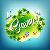 Headline Summer. Tropical island in the blue sea Stock Photo