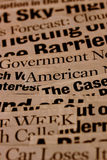 Headlines. Close up of new paper headlines Royalty Free Stock Image