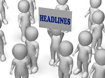 Headlines Board Character Means Urgent. Headlines Board Character Meaning Urgent Publication Articles Or Breaking News Stock Photography