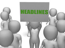 Headlines Board Character Shows Last Minute. Headlines Board Character Showing Last Minute News Or Newspaper Publications Stock Photos