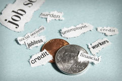 Headlines and coins. Coins and mini current events newspaper headlines Stock Images