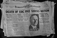 Headlines Coolidge Death 1933. Headline emblaze Death of Coolidge Shocks Nation in above the fold article in 1933 news paper publication Stock Photos