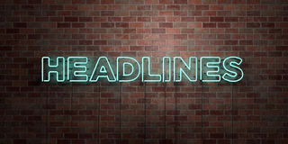HEADLINES - fluorescent Neon tube Sign on brickwork - Front view - 3D rendered royalty free stock picture. Can be used for online banner ads and direct mailers Royalty Free Stock Photography