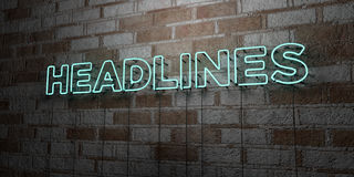 HEADLINES - Glowing Neon Sign on stonework wall - 3D rendered royalty free stock illustration. Can be used for online banner ads and direct mailers Stock Image