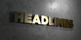 Headlines - Gold sign mounted on glossy marble wall - 3D rendered royalty free stock illustration. This image can be used for an online website banner ad or a Royalty Free Illustration