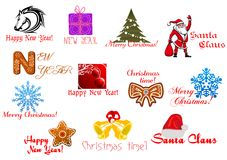 Headlines and icons for Christmas holiday Stock Photos