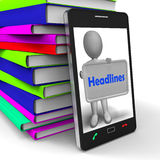 Headlines Phone Shows Latest News And Reporting Stock Photography
