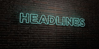HEADLINES -Realistic Neon Sign on Brick Wall background - 3D rendered royalty free stock image. Can be used for online banner ads and direct mailers Royalty Free Stock Image