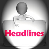 Headlines Sign Displays Media Reporting And News. Headlines Sign Displaying Media Reporting And News Royalty Free Stock Photo