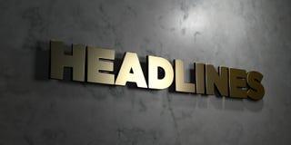 Headlines - sinal do ouro montado na parede de mármore lustrosa - a ilustração conservada em estoque livre rendida 3D dos direito ilustração royalty free