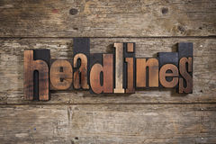 Headlines written with letterpress type Stock Images
