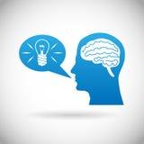 Headmind Brain in Head Silhouette Generate Lamp Idea Manifest Speach Bubble Vector Illustration Royalty Free Stock Photo