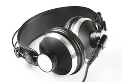 Headphone. Black headphone pleasure for music people. Studio equipment tool Royalty Free Stock Images