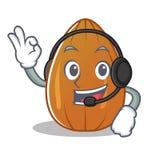 With headphone almond nut character cartoon Royalty Free Stock Photos