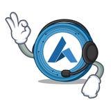With headphone Ardor coin mascot cartoon. Vector illustration Royalty Free Stock Image
