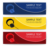 Headphone banners Royalty Free Stock Photos
