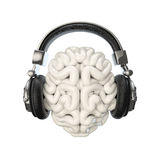 Headphone brain. 3D render of human brain wearing headphones stock illustration