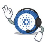 With headphone Cardano coin character cartoon. Vector illustration Royalty Free Stock Photo