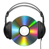 The headphone-carrying CD. A colorfully reflecting CD with professional headphones put on it stock photos