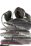 Headphone and cd collection Royalty Free Stock Photography