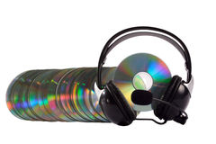 Headphone and cd collection. As a caterpillar isolated on white background Stock Photo