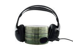 Headphone and cd collection Stock Image