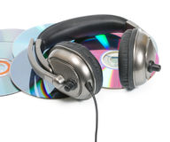 Headphone in CD stack Royalty Free Stock Photo