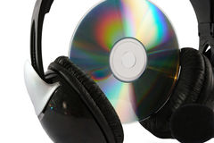 Headphone and cd on white background Stock Photos