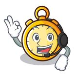 With headphone chronometer character cartoon style Royalty Free Stock Photos