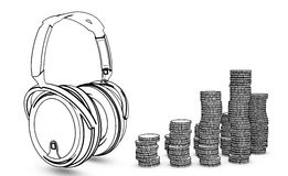 Headphone with coins Stock Photo
