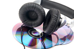 Headphone and compact discs Royalty Free Stock Images