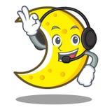 With headphone crescent moon character cartoon Royalty Free Stock Photos
