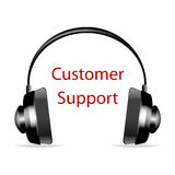Headphone with customer support text Royalty Free Stock Image