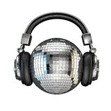 Headphone disco ball. 3D render of disco ball with headphones Stock Images