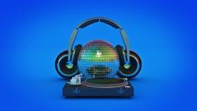 Headphone disco ball. 3d rendering Stock Images