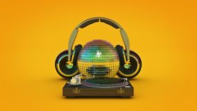 Headphone disco ball. 3d rendering Stock Photography