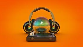 Headphone disco ball. 3d rendering Royalty Free Stock Photo