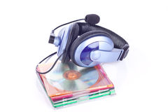 Headphone and discs Royalty Free Stock Images