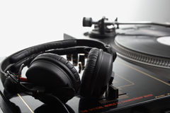 Headphone on the dj mixer Stock Photography