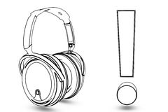 Headphone with excitation Royalty Free Stock Photography