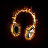 Headphone on Fire. Illustration of headphone on fire flame for music design Stock Photo