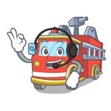 With headphone fire truck mascot cartoon. Vector illustration Royalty Free Stock Images