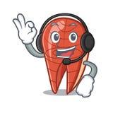 With headphone fish slice mascot cartoon. Vector illustration Royalty Free Stock Photo