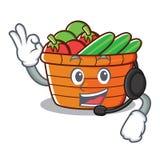 With headphone fruit basket character cartoon. Vector illustration stock illustration
